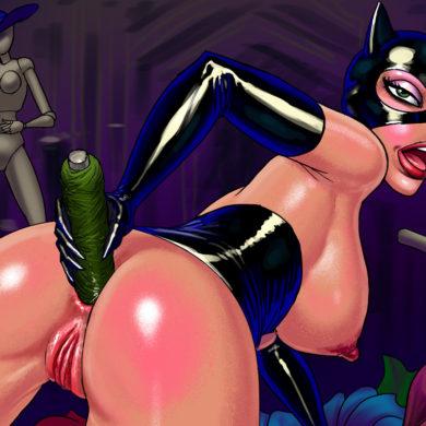 Catwoman Dildo-Fucks Her Ass