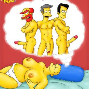 Topless Marge Simpson Dreams of Dicks