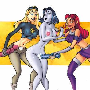 Lezdom Porn: Terra, Raven, Starfire