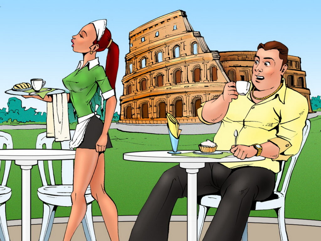 Bruce Bond Stares at a Sexy Waitress
