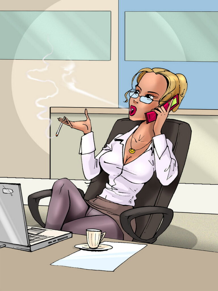 Smoking Hot Office Blonde Smokes