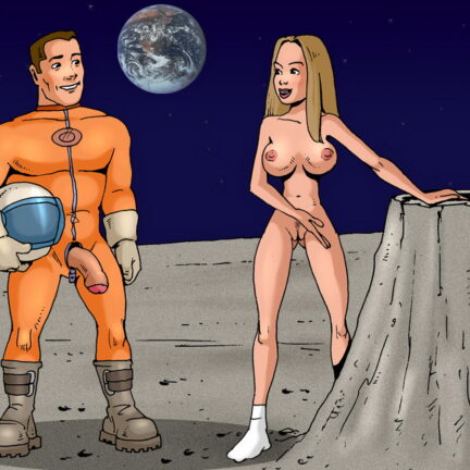 Naked Space Babe Finds a Perfect Rock