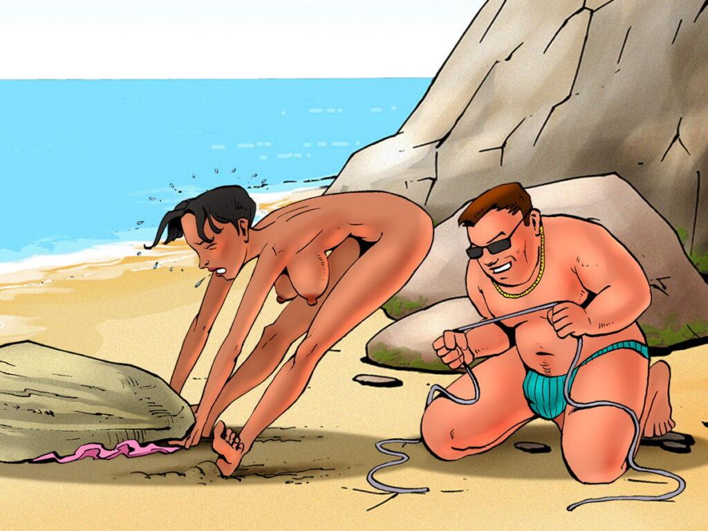 Naked Beach-Goer Lifting a Rock